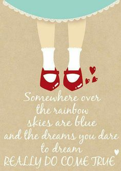 Somewhere over the rainbow illustration, print, nursery decor, home decor, wizard of oz Quotes To Live By, Me Quotes, Book Quotes, Wizard Of Oz Quotes, Over The Rainbow, The Wiz, Wise Words, Favorite Quotes, Broadway