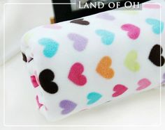 Fleece Fabric Colorful Hearts per Yard 29603 by landofoh on Etsy, $14.75