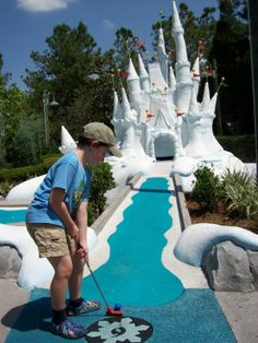 MINIATURE GOLF:I like mini golf but only if I can hit the ball into shark mouths, haunted house windows, or castle doors (like the picture). Mini golf where it's just green and a hole bores me.