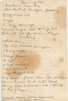 Because any hand written Grandma recipe is gold! This frosting, is awesome. On Sundays it was her pleasure to bring this cake to my moms. She made 3 round layers and frosted between each layer. Retro Recipes, Old Recipes, Vintage Recipes, Cookbook Recipes, Sweet Recipes, Cake Recipes, Dessert Recipes, Cooking Recipes, Recipies