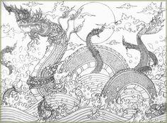 The Learner of Jitdrathanee's Fun Learning. Thai Pattern, Thailand Art, Vietnam, Thai Tattoo, Japan Tattoo, Thai Art, Japan Art, Oriental, Traditional Art