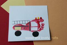 footprint art: fire truck crafts for boys Crafts For Boys, Crafts To Do, Projects For Kids, Art For Kids, Family Crafts, Craft Activities, Preschool Crafts, Childcare Activities, Fire Truck Craft
