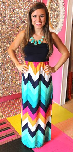 Confetti Chevron Maxi Dress.  Love the bright colors.  Seems to be flattering with the higher waistline.