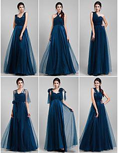 brudtärna klänning golv längd tyll en linje konvertibelt klä... – SEK Kr. 832