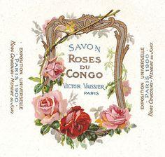 Vintage French Labels | Vtg French Paris Expo Soap Label Savon Roses Du Congo | eBay
