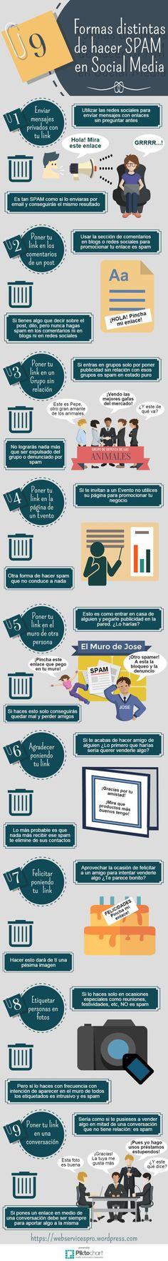 9 formas de hacer Spam en Redes Sociales #infografia #infographic #socialmedia | TICs y Formación