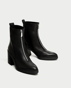 Image 1 of HIGH HEEL LEATHER ANKLE BOOTS WITH ZIP from Zara