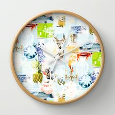 Things Wall Clock by JANINE GERBER - $30.00 Clock, Plates, Tableware, Wall, Watch, Licence Plates, Plate, Dinnerware, Dishes