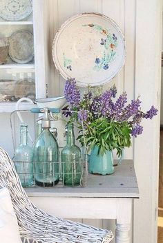 Sifones, Botellones vintage, Estilo sabby chic. Cottage styling.