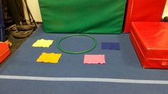 """Preschool Gymnastics: March 2015 Week 5 """"Jump Into Spring!""""  Place hands in hula hoop. Jump feet from flower petal to flower petal all the way around the circle. GREAT FOR BEGINNER CARTWHEELS!"""