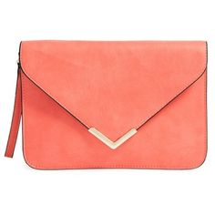 Dolce Girl Flap Clutch (€34) ❤ liked on Polyvore featuring bags, handbags, clutches, purses, bolsa, coral, chain purse, red purse, chevron purse and red clutches
