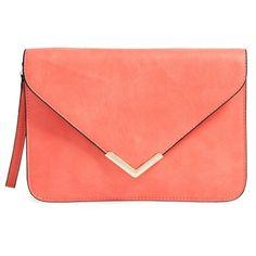 Dolce Girl Flap Clutch ($38) ❤ liked on Polyvore featuring bags, handbags, clutches, purses, bolsa, bolsos, coral, man bag, chevron print purse and chevron handbag
