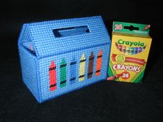 Plastic canvas crayon tote.  Love this for Grant, must buy!