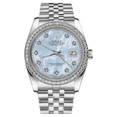 Pre-owned Rolex Datejust Stainless Steel Baby Blue Mother of Pearl... ($4,299) ❤ liked on Polyvore featuring jewelry, watches, rolex watches, i love jewelry, fine jewelry, holiday watches and diamond watches