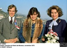 Princess Caroline with her mother,Princess Grace of Monaco and her brother,Prince Albert,November,1975.