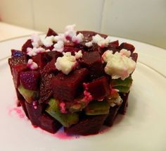 Beet, green bean and feta cheese salad, beautified by shaping in a ring mold (read recycled can!)