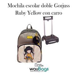 58558252c Mochila escolar doble Gorjuss – Ruby Yellow con carro La Mochila escolar  doble Gorjuss con carro