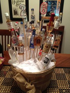 Liquor bouquet for my boyfriend's birthday! There's 26 mini bottles! Used floral foam to set dowels in. Little Sister Birthday, Hubby Birthday, Birthday Surprise Boyfriend, 26th Birthday, Birthday Woman, Birthday Ideas, Birthday Quotes, Liquor Bouquet, Gift Logo