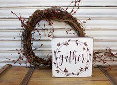 Fall Wood Sign, Fall Decor, Farmhouse Style, Gather Wood Block, Thanksgiving Wooden Sign, Autumn Decor, Wreath, Shelf Sitter, Distressed by TinSheepShop on Etsy
