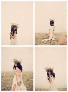 tanja lippert. orange fog haze clouds in the mist with her crown. white sheer fabric. dark hair soft skin. lingerie boudoir. bare back