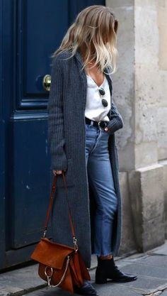 long cardigan + round sunnies + levis wedgie jeans + chloe faye