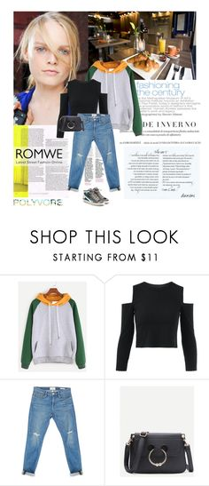 """""""13/01/2017 Romwe: Sweatshirt + Bag"""" by dunoni ❤ liked on Polyvore featuring Frame and Golden Goose"""