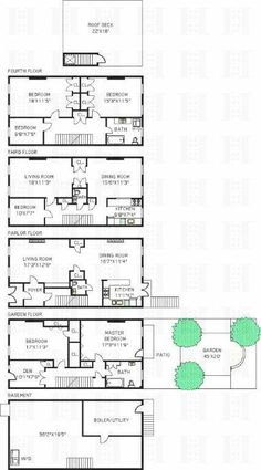 New york brownstone floor plans modify for california by for Brownstone townhouse plans
