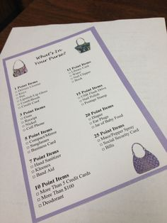 Bridal Shower Games - Whats In Your Purse - Printable via Etsy