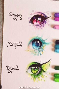 Pencil Art Drawings, Cool Art Drawings, Art Drawings Sketches, Easy Drawings, Colorful Drawings, Art Illustrations, Eyes Artwork, Anime Eyes, Anime Demon
