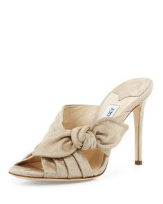 Keely Suede Bow Slide Sandal, Sand by Jimmy Choo at Neiman Marcus. Bow Sandals, Suede Sandals, Bow Shoes, Crazy Shoes, Me Too Shoes, Shoes World, Jimmy Choo Shoes, Luxury Shoes, Heeled Mules