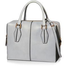 Tod's - Tod's D-Cube Small Bowler Bag (64.985 RUB) ❤ liked on Polyvore featuring bags, handbags, man bag, round purse, studded handbags, handbags purses and leather handbags
