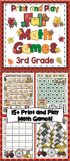 Fall Math Games and Centers: 3rd Grade Print and Play (No Prep) Your students will have a blast while working on Common Core math skills with this set of 15+ fall themed math games. All the games are 1 page with the spinner on the game board. All you need to do is print and play! $