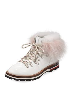 eeb273e7439 Moncler Fur-Trim Patent Leather Hiker Boots