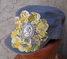 Cadet  Military Distressed Army Hat Gray with by theraggedyrose, $35.00