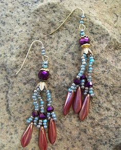 Copper Blue and Purple Seed Bead Woven Dangle by PaintedTreeStudio, $28.00