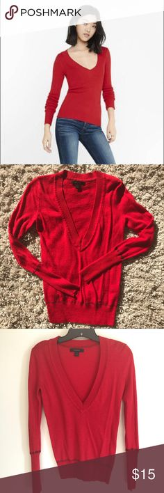 Red v-neck sweater - Express - size XS Red v-neck sweater from Express with black seams on arms and waist. Size XS. --- No pets, clean home. Accepting offers!! Express Sweaters V-Necks