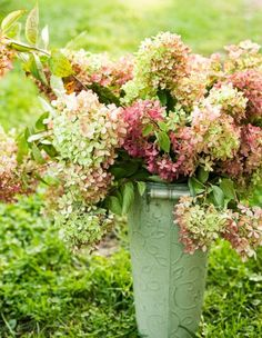 A simple bouquet of fresh or dried hydrangeas makes a beautiful statement. More ideas for decorating with hydrangeas: http://www.midwestliving.com/homes/seasonal-decorating/fall-decorating-with-hydrangeas/?page=7