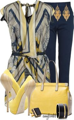 Pretty blue and yellow ensemble! We'd probably go with yellow flats ;)