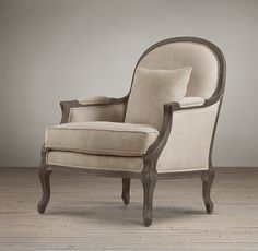 RH's Chairs:Restoration Hardware brings in beautiful new ways for comfort and luxury into your living room. We feature living room chairs, ottomans and chaise lounges in a variety of fabrics that will make your guests feel right at home. Formal Living Rooms, My Living Room, Living Room Chairs, Dining Room, Restoration Hardware Baby, French Chairs, Kids Seating, Exposed Wood, Ballard Designs