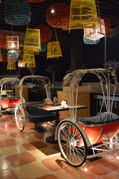 Dine on a rickshaw Mexican Restaurant Decor, Outdoor Restaurant Design, Restaurant Floor Plan, Deco Restaurant, Restaurant Interior Design, Cafe Shop Design, Coffee Shop Interior Design, Bakery Interior, Hookah Lounge Decor