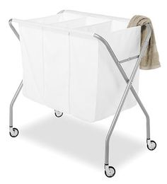 Whitmor 3 Section Laundry Sorter - Collapsible with Heavy Duty Wheels - Silver & White - 19 inch x 34 inch x 30 inch Size: 19 Large x 34 W x 30 H inches