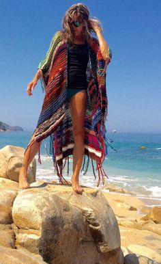 LONG Handknit Womens Bohemian Festival Hippie Beach by poshbygosh Poncho Au Crochet, Knit Crochet, Knit Fashion, Boho Fashion, Most Comfortable Jeans, Estilo Hippy, Boho Beautiful, Cute Clothes For Women, Moda Boho