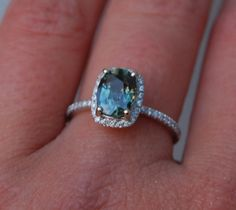 1.86ct Cushion Peacock blue color change sapphire diamond ring 14k White gold engagement ring on Etsy, $2,100.00 CAD