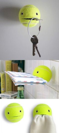 DIY | Tennis balls used as holders/hooks.