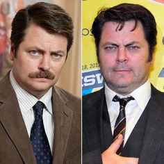 Pin for Later: You Wouldn't Even Recognize Some of These TV Characters Without Their Mustaches Ron Swanson/Nick Offerman
