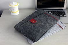 Any size is available, please feel free to contact us We can make monogram as well, please contact us if you need one  Uneven front pocket, closed with small leather flap Made from 3MM felt You can put phone , wallet, pen, notebook in front pocket Width is enough to hold ipad mini We put extra leather under front pocket as decoration, you can ask for changing leather colour, please contact us Suitable for unisex Zipper closure on macbook pocket, easy to operate  Colour: Dark Grey  For dark…