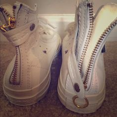 Converse all star leather White leather chuck Taylor with gold zip  detail b2cb51ea7f