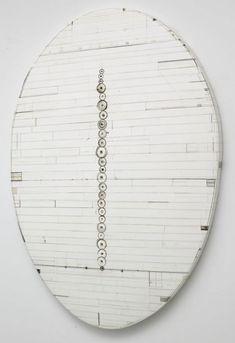 "Hiroyuki Hamada ntitled #49 2002-06 45 1/2"" x 33"" x 1 3/4 "" Materials: burlap, enamel, oil, plaster, resin, solvents,tar and wax"