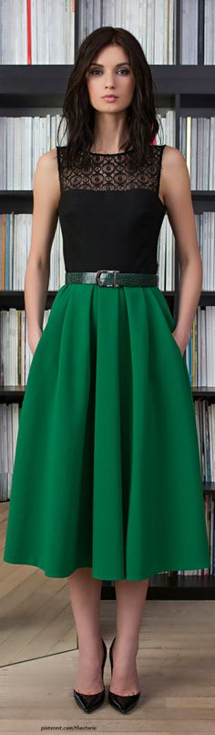 Spring / Summer - Fall / Winter - dressy style - business casual - party look - black sleeveless illusion crochet neckline + emerald green belted waist tulip midi skirt + black stilettos - Chapurin ● Fall 2014