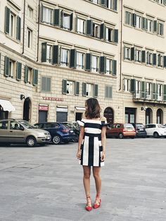 Aimee Song Striped Off The Shoulder Dress